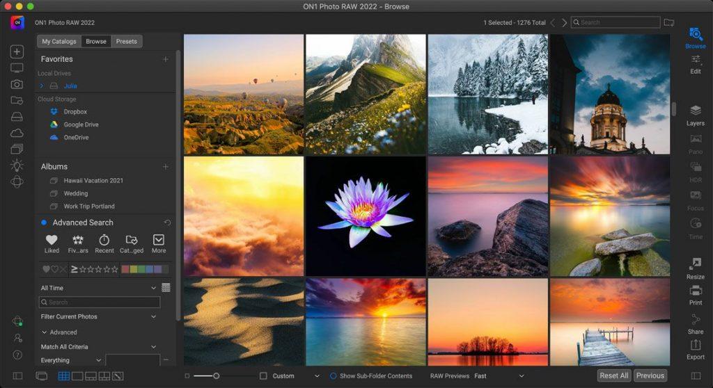 ON1 Photo RAW Interface